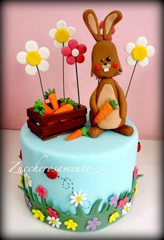 Rabbit Easter cake - Cake by Silvia Tartari Egg Cake, Easter Cake, Happy Easter, Cake Decorating, Rabbit, Birthday Cake, Cookies, Chocolate, Desserts
