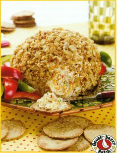 Festive Cheese BallPINEAPPLE CHEESE BALL    1-1/2 packages (12 oz) cream cheese  1 small can crushed pineapple (well drained)  powdered sugar (to taste- approximately 2-3 Tbsp.)  green onion (optional-to taste, approximately 2 Tbsp.)  chopped ham (optional-to taste, approximately 2-3 Tbsp. I used deli meat ham)  chopped pecans (about 1 cup worth)
