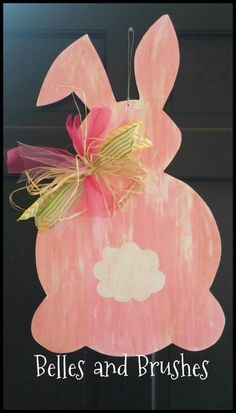 Easter bunny door hanger by BellesandBrushes on Etsy