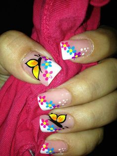 Heat Up Your Life with Some Stunning Summer Nail Art Fancy Nails, Cute Nails, Pretty Nails, Butterfly Nail Art, Butterfly Nail Designs, French Tip Nails, French Manicures, French Tips, Toe Nail Designs