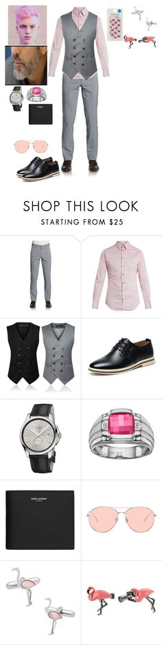 """""""Flamingo"""" by racheljohnson1226 ❤ liked on Polyvore featuring Saks Fifth Avenue, Giorgio Armani, Gucci, Yves Saint Laurent, Gentle Monster, Cufflinks, Inc., Ted Baker, Skinnydip, men's fashion and menswear"""