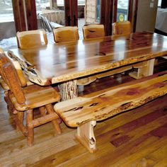 Cedar Lodge Log Dining Table- from Cedar Lake Collection.- Rustic ...