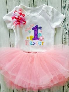 5520a12014f07 My first Easter Outfit, 1st Easter outfit for Girls, Girls First Easter  Outfit, Bodysuit Chevron Skirt headband- can be Personalized