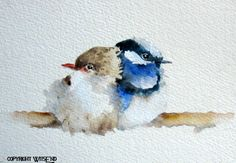 'SIDE BY SIDE', Fairy Wren Birds watercolor painting original art free shipping within continental USA. by WitsEnd, via Etsy. SOLD