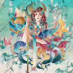 M·A·C X Kings of Glory Advertising Campaign Illo on Behance Fantasy Illustration, Art And Illustration, Illustrations And Posters, Botanical Illustration, Fantasy Paintings, Nature Paintings, Fantasy Art, Lion Painting, Painting Of Girl