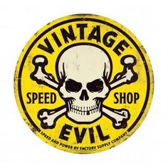 Pasttime Signs FSC022 Vintage Evil yellow skull 28 in.