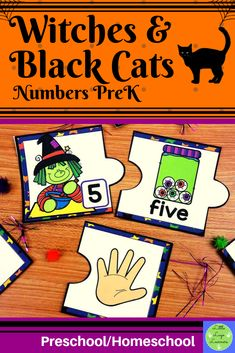 These Witches & Black Cats Number Lessons are the perfect addition for Math Centers for homeschool/preschool. This time saving, leveled resource is engaging with its vibrant pictures and stimulating content! Your multi-aged 4-6 year old children will enjoy learning about Halloween and numbers with these interactive lessons. Preschool Halloween, Halloween Witches, Halloween Activities, Morning Activities, Cat Activity, Number Activities, Numbers Preschool, Time Saving, Elementary Math