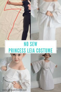 No Sew Princess Leia Costume For World Book Day – We Made This Life No sew princess leia costume. Perfect costume for star wars fans on world book day. Really easy to make, no sewing needed! Princess Leia Costume Kids, Princess Leia Dress, Star Wars Princess Leia, Easy Diy Costumes, Homemade Costumes, Costume Ideas, Halloween Costumes, Halloween 2019, Cosplay Ideas