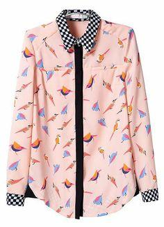 Pink Long Sleeve Birds Print Chiffon Blouse US$31.97