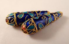 Cloisonne pendant beads 40 x 11 mm elongated by NancyLynnDesigns (Craft Supplies & Tools, Jewelry & Beading Supplies, Beads, cloisonne, pendant, beading supplies, jewelry supplies, cloisonne beads, metal pendant, large pendant, tibetan, large cloisonne bead, asian beads, 40mm pendant, metal beads, focal bead blue)