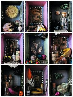 House of Voodoo miniature shadow box. Inspired by New Orleans magic.    Handmade of pine wood box oainted with non-toxic acrylic paint and varnish, filled with hand picked ... #etsy #boho #bohemian #bohodecor #gypsy #curiosities