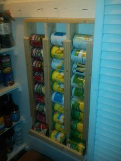 Pantry organization, clever idea for cans. I'd make it a bit shorter though.
