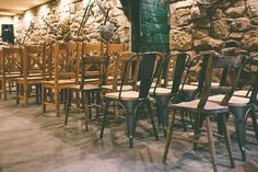 Mismatched Rustic Ceremony Chairs Natural Meaningful Sweet Colourful Barn Wedding http://www.emmaboileau.co.uk/