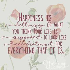 Happiness is letting go of what you think your life is supposed to look like and celebrating it for everything it is   quote shared by Unskinny Boppy