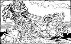 Illustrations from The Heroes of Asgard by C.E. Brock Thor and Loki ride from Asgard to Utgard