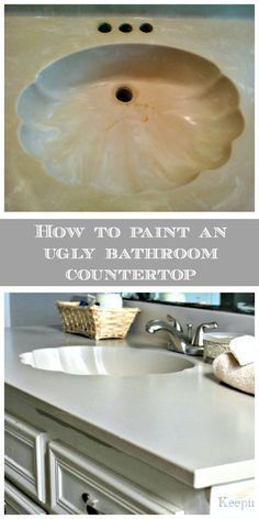 Transform an ugly bathroom countertop with paint! I did this to our bathroom vanity in 2011 and the finish is still as tough and durable as ever. If you'd like a new look but don't have a lot of money, this is the way to go!