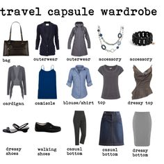 """""""Travel capsule wardrobe blue/grey"""" by silverwild on Polyvore okay except for the walking shoes."""
