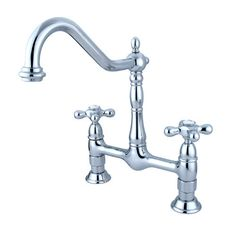 Found it at Wayfair - Heritage Deck Mount Double Handle Centerset Bridge Kitchen Faucet with Metal Cross Handle