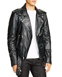 A Gift for Mr. Tough Guy... Channel your inner rock star with this cool, zipper-accented leather biker jacket from BLK DNM that's gently distressed for a love-worn effect. Go for it! Free shipping through 12/22/15.