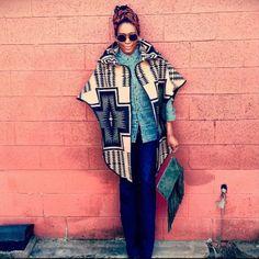 naturalhairdoescare:  @thebazaarbohemian and her #cape! #turbanatorthursday #turban #headwrap #scarf