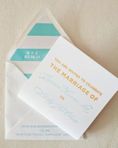 Summertime Invitation: This square-shaped invite featured an orange and aqua color scheme, which got guests in the mood for the warm weather celebration.