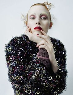 Publication: Vogue Italia December 2015. Model: Karen Elson. Photographer: Tim Walker. Fashion Editor: Jacob K. Hair: Malcolm Edwards. Make-up: Sam Bryant. Nails: Anatole Rainey.