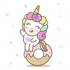 Illustrator Cute Unicorn Cartoon Little Donut Doodles Kawaii, Cute Kawaii Drawings, Unicorn Art, Cute Unicorn, Unicorn Logo, Modern Business Cards, Business Card Design, Happy Birthday Donut, Donut Drawing