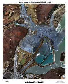 Aerial photograph of site taken the day after the event. The TVA Kingston Fossil Plant coal fly ash slurry spill occurred just before 1 a.m. on Monday December 22, 2008, when an ash dike ruptured at an 84-acre (0.34 km2) solid waste containment area at the Tennessee Valley Authority's Kingston Fossil Plant in Roane County, Tennessee, USA. 1.1 billion US gallons (4,200,000 m3) of coal fly ash slurry was released.
