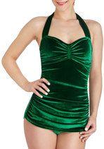 Bathing Beauty One Piece in Emerald Velvet | Mod Retro Vintage Bathing Suits | ModCloth.com