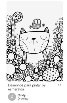 Doodle Cat By Starpixie Cool Whimsical Pen And Inkzentangle Style Bird Illustration