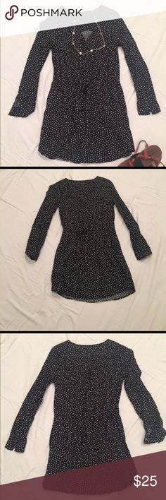 Banana Republic Polka Dot Dress This cute mini long sleeve dress is great with tights or without. I wish this still fit me, but it's just a tad short for me. Fits like a 2 or close to a S/XS. This has only been worn a couple of times. Banana Republic Dresses Long Sleeve