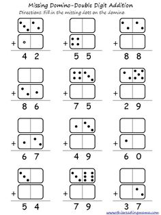 Double Digit Domino Addition and Subtraction. It would also make a great game without a worksheet as a double digit addition or subtraction game. Kindergarten Worksheets, In Kindergarten, Math Activities, Math Games, Addition Activities, Addition And Subtraction Worksheets, Math Addition, Doubles Addition, Addition Games