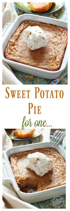 Sweet Potato Pie For One – This popular Southern dessert starts with a buttery graham cracker crust and is filled with perfectly spiced sweet potato custard. Top this tasty pie with a spoonful of maple whipped cream and you've got an amazing single serving dessert.