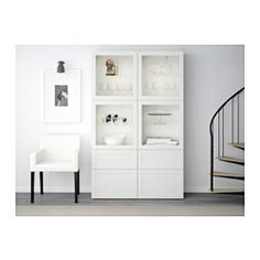 IKEA   BESTÅ, Storage Combination W/glass Doors, Hanviken/Sindvik White  Clear