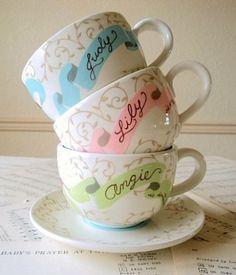 Bridesmaid teacups -- cute idea!