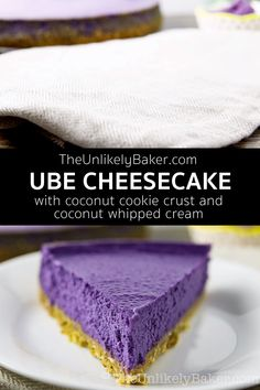 Ube cheesecake is everything you ever wanted in an ube dessert. Luxurious ube cheesecake filling on a bed of crunchy coconut cookie crust then topped with creamy coconut whipped cream. Perfect for the holidays! Philipinische Desserts, Filipino Desserts, Delicious Desserts, Dessert Recipes, Filipino Food, Easy Filipino Recipes, Filipino Dishes, Dessert Bars, Creamy Cheesecake Recipe