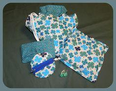geschenksetje bestaande uit boodschappentas, warmtekussen, zakdoekzakje, glasoorbellen en een sleutelhangerzakje