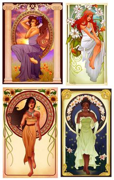 Art Nouveau Disney Princesses - Mix&Match or Complete Collection New Disney Princesses, Disney Princess Drawings, Disney Princess Art, Disney Fan Art, Disney Drawings, Disney Love, Princess Party, Disney Animation, Alphonse Mucha