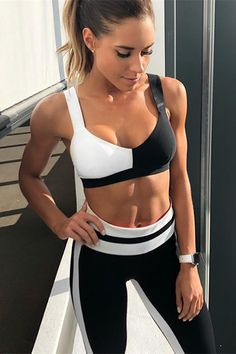 a02414a32a1c7 Black N White Patch Two-pieces Yoga Set. Gym OutfitsSport ...