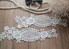 1 Pair Ivory Alencon Lace AppliquesEmbroidered   Etsy