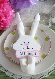 Segnaposto con coniglio