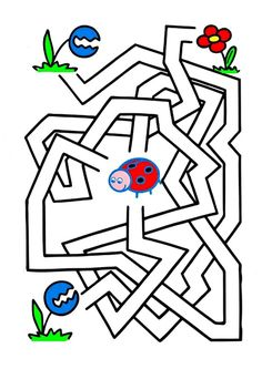 Maze Worksheet, Activities For Kids, Crafts For Kids, Mazes For Kids, Labyrinth, Kindergarten, Picture Puzzles, Pre Writing, Bugs And Insects