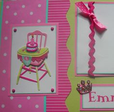 New Baby Girl Scrapbook Layouts | personalized BABYS FIRST BIRTHDAY GiRL 12x12 Premade Scrapbook Pages