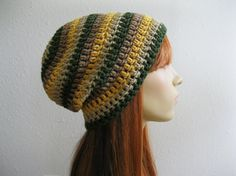Crocheted Slouchy Beanie Hat Multicolor Stripes by yarnmeditations