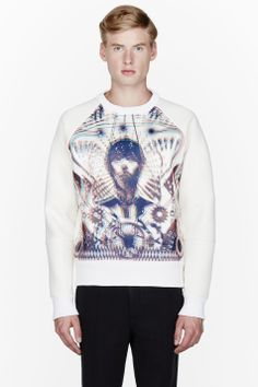 JUUN.J white Neoprene Cyborg girl 3D graphic sweatshirt