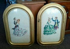 Set Vintage Antique CONVEX BUBBLE GLASS FRAMES over Hand Stiched Needlepoint in Antiques, Decorative Arts, Picture Frames | eBay