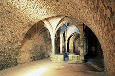 Cloître du monastère fortifié. L'abbaye de Lérins. Île Saint-Honorat…