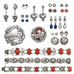 Group of Sterling Silver, Coral, Hardstone and Colored Stone Jewelry, Georg Jensen - Fine Jewelry - Beverly Hills | Doyle Auction House