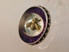 MARS-AND-VALENTINE-BUMBLE-BEE-RING-STERLING-SILVER-LUCITE-GOLD-DOTS-FLAMES-SZ-6