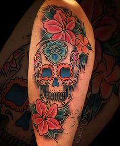 Mexican sugar Skull Tattoo day of the dead